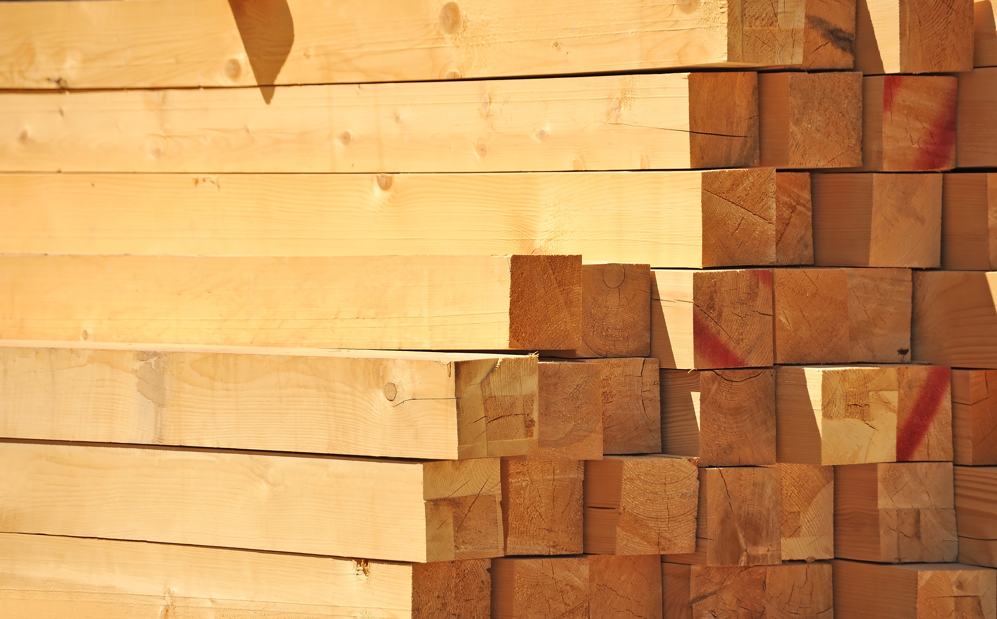 stacked wooden beam